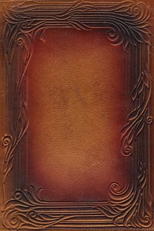 brown and red leathercraft tooled vintage book cover with texture and border