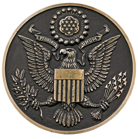 close up of a bronze plaque of a great seal of the united states,front view, clipping path