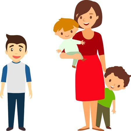 Illustration for Mother of many children with a daughter and two sons. Vector illustration of a flat design - Royalty Free Image