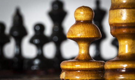 Wooden chess pieces stand on the board in the starting position before the battle.