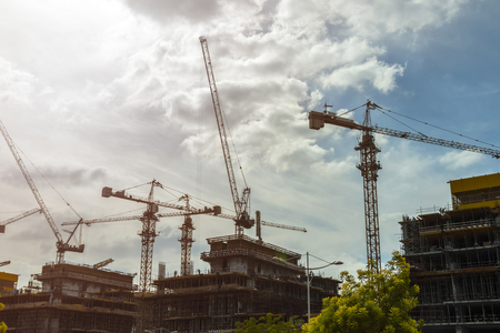 Photo for Construction of high-rise apartment buildings and offices. - Royalty Free Image