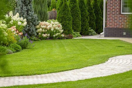 Photo pour Freshly cut grass in the backyard of a private house. - image libre de droit