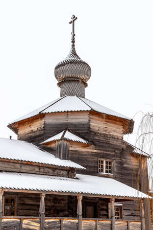 Sviyazhsk, Russia - January 1, 2020: Holy Trinity Church. The only wooden structure in Sviyazhsk, preserved from the time of the fortress of Ivan the Terrible.