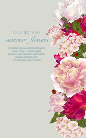 Illustration pour Template for greeting cards, wedding decorations, sales. Vector banner with summer flowers. Spring or summer design. - image libre de droit