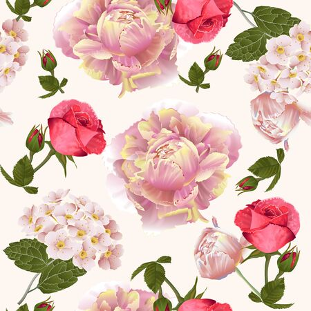 Illustration for Vector botanical seamless pattern with roses and peonies flowers.Modern floral pattern for textile, wallpaper, print, gift wrap, greeting or wedding background. Spring or summer design. - Royalty Free Image
