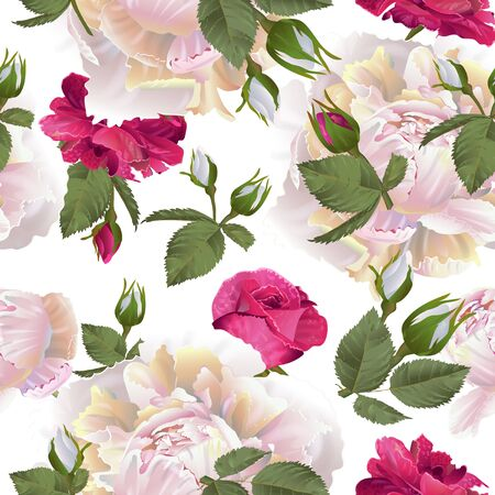 Illustration pour Vector botanical seamless pattern with roses and peonies flowers. Modern floral pattern for textile, wallpaper, print, gift wrap, greeting or wedding background. Spring or summer design. - image libre de droit