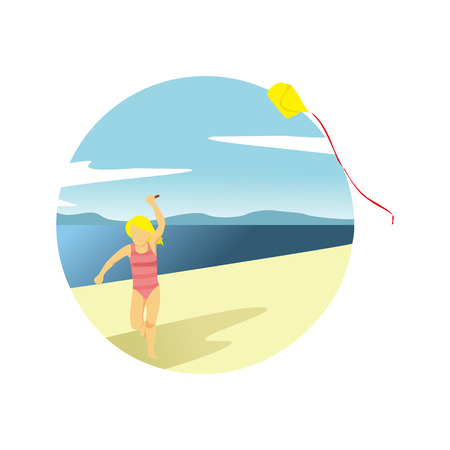 Playing Kite at Beach Summer Activity Scenery Vector Illustration Graphic Design