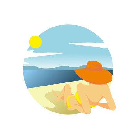 Summer Beach Girl Relaxing Activity Scenery Vector Illustration Graphic Design