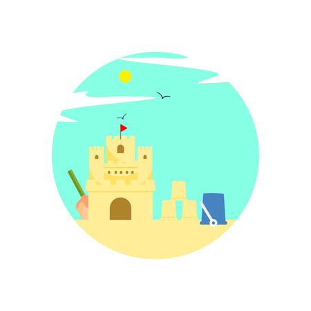Sand Castle Summer Activity Scenery Illustration Graphic Design