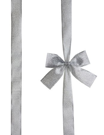 Silver ribbon and bow isolated on white