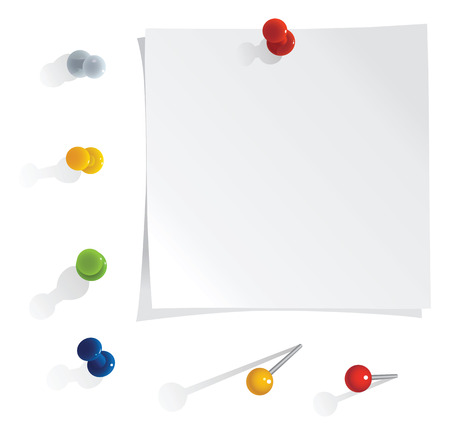 vector white reminder notes with pins set