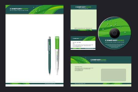 Foto de Corporate Identity Template Vector  with  green background - blank, card, pen, cd, note-paper, envelope - Imagen libre de derechos