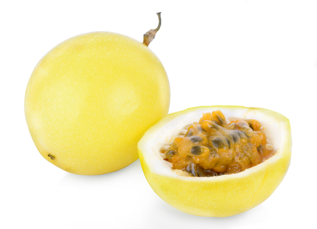 Photo for whole and half of passion fruit isolated on white background - Royalty Free Image