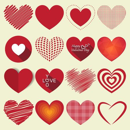 Illustration pour Heart valentine icon set vector illustration - image libre de droit