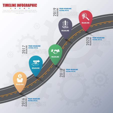 Ilustración de timeline infographics with icons set. vector. illustration. - Imagen libre de derechos