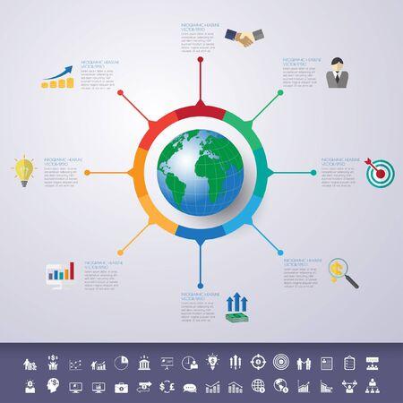Illustration pour timeline infographics with icons set. - image libre de droit