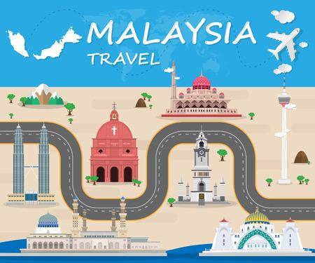 Photo pour Malaysia Landmark Global Travel And Journey Infographic Vector Design Template. vector illustration. - image libre de droit