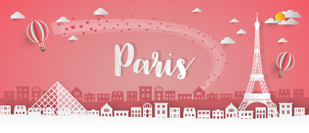 Ilustración de France Landmark Global Travel And Journey paper background. Vector Design Template.used for your advertisement, book, banner, template, travel business or presentation. - Imagen libre de derechos
