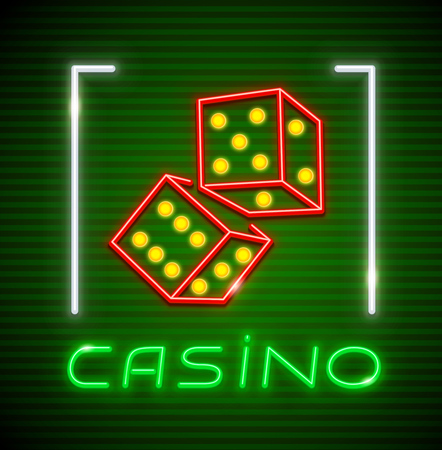 Cubes for playing dice in Casino. Neon icon. Excitable game symbol. EPS10 vector illustration.