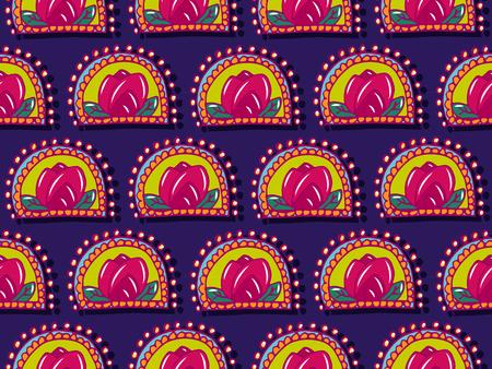 Illustration pour Seamless pattern in bright colors with roses design - image libre de droit
