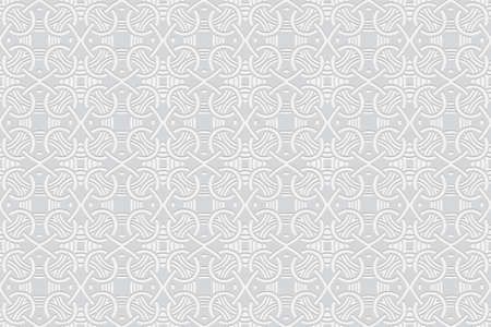 Illustration pour 3d volumetric convex geometric white background. Embossed ethnic abstract curly pattern. Oriental, Islamic, Arabic, Maracan motives. Ornament for wallpapers, presentations, textiles, websites. - image libre de droit
