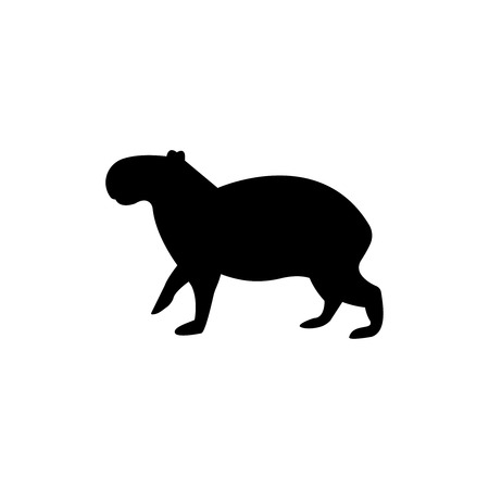 Illustration pour capybara vector black silhouette isolated on white background - image libre de droit