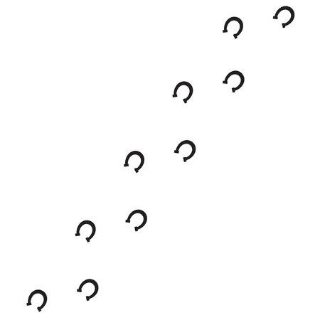 Illustration pour Vector black flat horse shoe steps footprints road isolated on white background - image libre de droit
