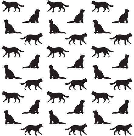 Illustration pour Vector seamless pattern of black cats silhouette isolated on white background - image libre de droit