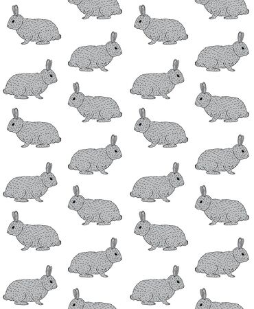 Foto per Vector seamless pattern of hand drawn doodle sketch gray rabbit isolated on white background - Immagine Royalty Free