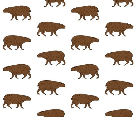Illustration pour Vector seamless pattern of brown hand drawn sketch capybara isolated on white background - image libre de droit