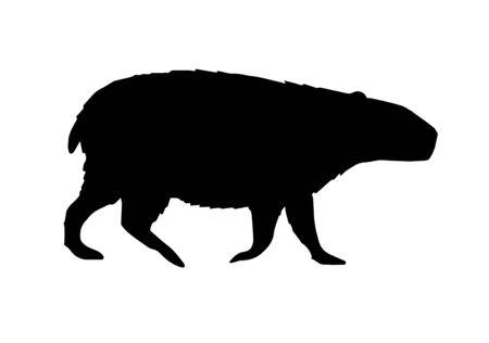 Illustration pour Vector flat black capybara silhouette isolated on white background - image libre de droit
