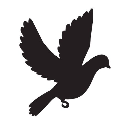 Illustration pour Vector black flying dove silhouette isolated on white background - image libre de droit