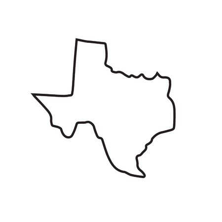 Illustration pour Vector outline Texas map silhouette isolated on white background - image libre de droit