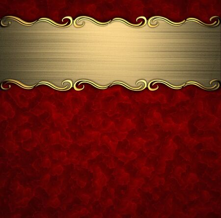 Photo pour Beautiful pattern on a gold plate on a red background - image libre de droit