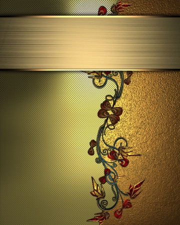 The template for the inscription  Beautiful gold Background with abstract plant pattern and gold nameplate for writing