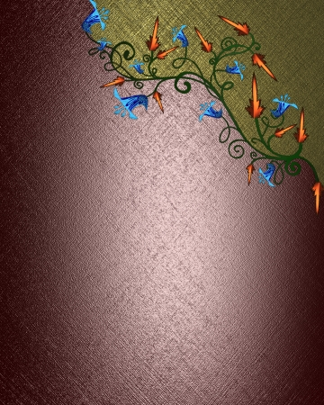 The template for the inscription  Beautiful red Background with abstract plant pattern and gold nameplate