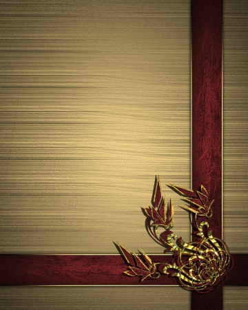 The template for the inscription  Beautiful gold Background with red ribbons and floral pattern  Template greeting card