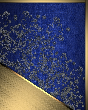 The template for the inscription. Beautiful Blue Background with abstract plant pattern and gold name plate for writing