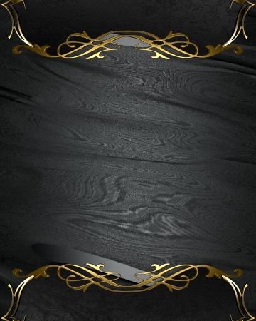 Photo pour Design template - Black rich texture with black edges and gold trim - image libre de droit