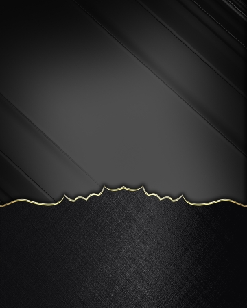 Photo pour Black edges with gold trim on black background. Design element. Template - image libre de droit