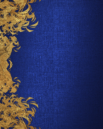 Photo pour Blue background with gold flowers. Element for design. Template for design. copy space for ad brochure or announcement invitation, abstract background. - image libre de droit