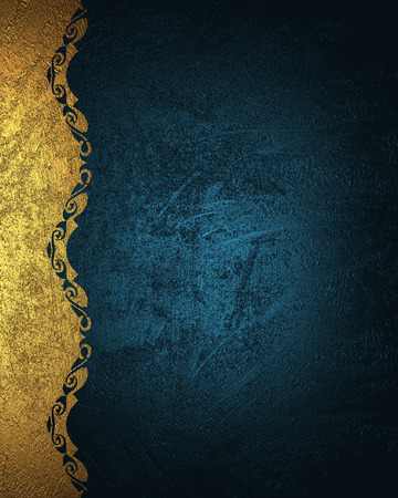 Photo pour Blue grunge background with gold pattern. Element for design. Template for design. copy space for ad brochure or announcement invitation, abstract background. - image libre de droit