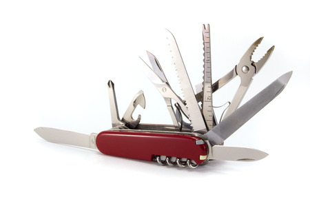 A swiss army knife, isolated on a white background.