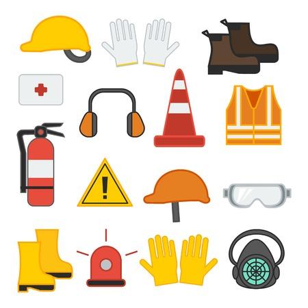 Illustration pour set of vector illustration safety equipment for construction and industrial vest shoes glove respirator helmet ear fire flat design - image libre de droit