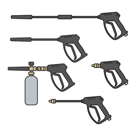 Illustration pour set of vector illustration pressure washer machine electric with spray gun equipment flat design style - image libre de droit