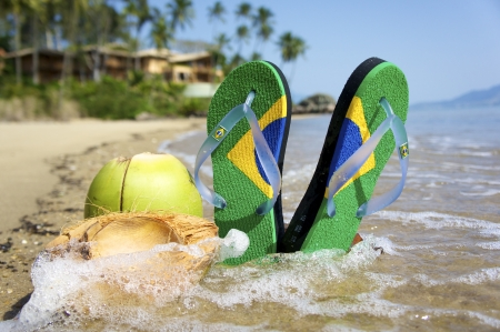 Brazilian Flipflop on the beach in Ilhabela, Sao Paulo state, Brazil, RAW shooting.