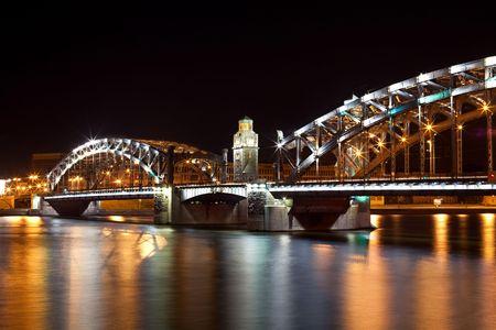 Bolsheohtinskiy bridge by night in St. Petersburg. Russia
