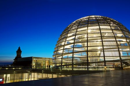 Glass Reichstag Dome by night, Berlin