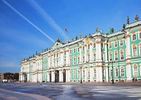 Winter Palace and  Alexander Column on  Palace Square in St. Petersburg/ Dvortsovaya Ploshchad in St. Petersburg