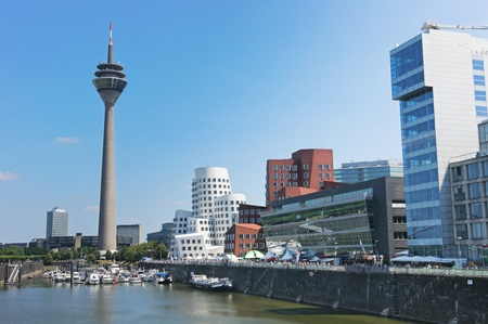 Photo for Media Port (Medienhafen) and Rheinturm tower Dusseldorf - Royalty Free Image